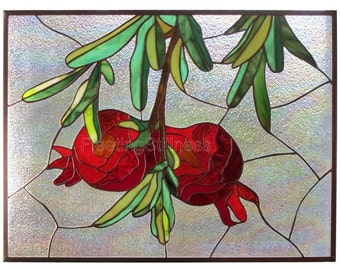 Stained Glass Panel Red Pomegranates Stained Glass Window Panel Handmade