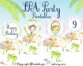 SPA Party Printables - INSTANT DOWNLOAD -  Party Cupcake Toppers and Wrappers