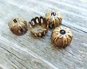 Antiqued Brass Filigree Bead Caps 9mm x 6mm 12 Pcs