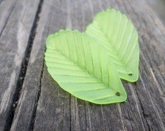 LIGHT Green Lucite Leaf Charm/Pendant 10 pcs.36x18 mm
