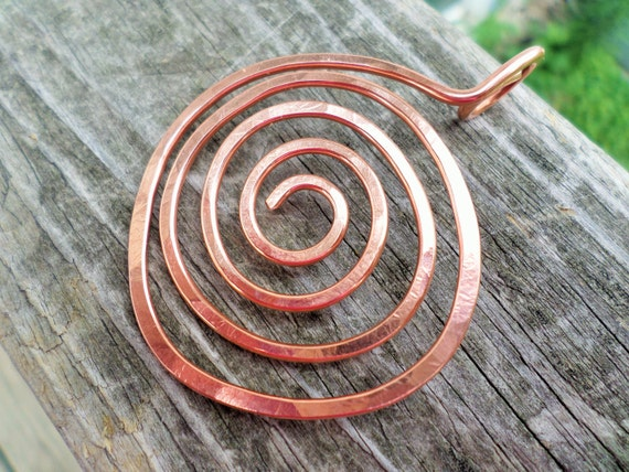 Large Copper, Oxidized Copper or NuGold Brass Swirl Pendant 50mm