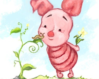 Winnie the Pooh - Baby Piglet Art Illustration Print