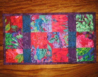 Blue Purple Kaffe Fassett Quilted Table Topper, Bold Flower Summer Topper, Table Decor, Reversible Table Mat, Quiltsy Handmade TahoeQuilts