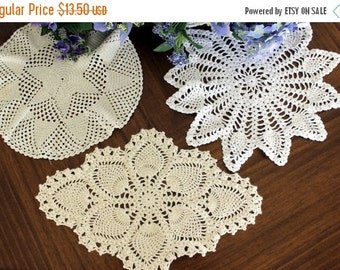 3 Assorted Crochet Doilies, Vintage Knit Doily, Whites and Ecru Lot 13411