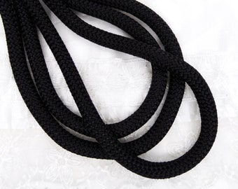 Braided Trim Rope Cord, Semisoft Climbing Cord, Black Striped String Round Cord 9-10mm approx. - 1Yard/ 92cm (1 piece)