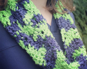 Navy and Green Ripple Crochet Cowl Seattle Seahawk