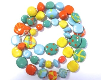 Blue Green Orange and Yellow Beaded Necklace, Ceramic Jewelry, Kazuri Bead Necklace