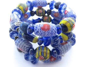 Memory Wire Bangle with Kazuri Beads and Glass Beads
