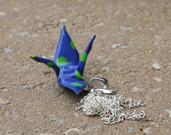 Origami Crane Pendant Large - Blue and Green