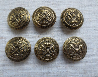 Vintage gold tone coat of arms design metal shank buttons. Wholesale lot of 6.