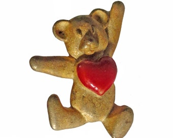 TEDDY BEAR HEART vintage pin lapel brooch badge