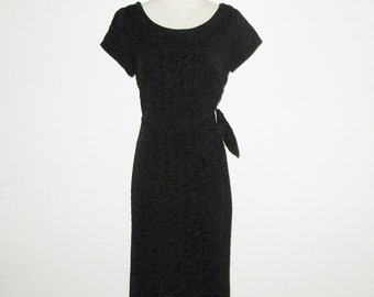 Vintage 1950s Dress / 50s Black Ribbon Dress / 50s Black Ribbon Dress With Large Bow - Size M
