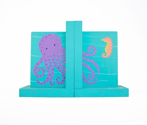 Hand Painted Bookend - Pair of Custom Children's Ocean Critter Octopus and Sea Horse Sea Animal Bookends or ANY Theme