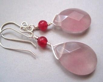 Blush Pink Jade Earrings, Pink Teadrop Earrings, Gemstone Earrings, Sterling Silver, Modern Gemstone Jewelry, Lavender beads