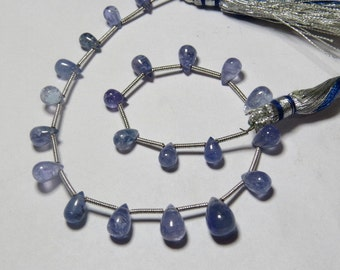 TANZANITE - 8 inches So Gorgeous - AAA - High Quality Natural Blue Color - Smooth Polished Tear Drops Briolletes - 7 - 10 mm approx