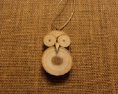 Owl: wood cuts owl necklace or ornament