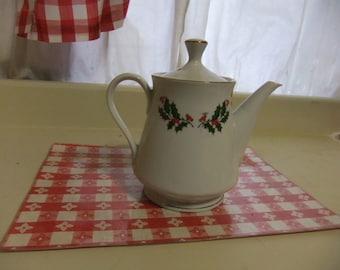Rare  Kashima Christmas Holly Coffee Pot