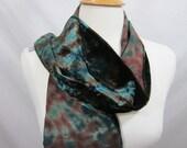 Ivy and Brown Iridescent Shibori Silk Velvet Scarf
