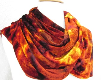 Scarf Silk Velvet Large Size Orange Brown