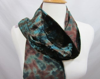 Ivy and Brown Iridescent Shibori Silk Velvet Scarf