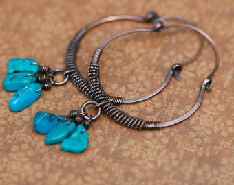 Turquoise on Coiled Copper Hoops earrings A4 - rustic hoops - artisan hoops - hand forged solid copper hoops - thick gauge hoops - bohemian