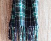 Vintage Winter Lambswool Scarf - Turquoise Teal Navy Preppy Plaid - B Altman New York - 1960s Prep - Unisex Men's Women's - Retro Prepster