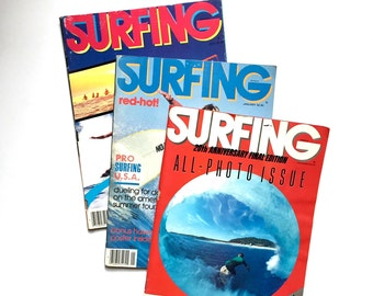 Surfing Magazine - 3 Vintage Issues - 1984 1983 - Rare Issues - Surf Culture 1980s