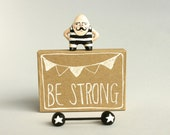 Moustache man miniature figurine - Circus strongman - Pocket box - Be strong - Made to order