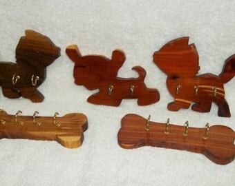 Handmade Wood Leash Holders - Kittens - Puppy - Bones