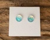 "Dichroic Glass Earrings Sea Green 5/16"" DGE-756"
