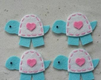 4 Handmade Felt Felties Turtle Appliques Cotton Candy