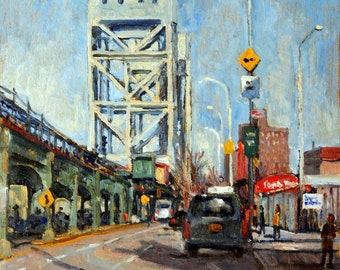Way Up Broadway, The Bridge from 218th, New York City. 8x10 NYC American Realist Urban Impressionist Oil Painting, Signed Original Fine Art