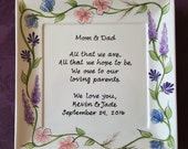 Wedding Mother of the bride gift - Gift Mother of the Groom Wedding gift for Mom and Dad - Thank you Mom & Dad -Wild Flowers wreath