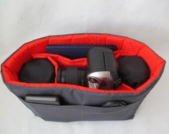 Camera Bag Insert - IN STOCK - Orange and Grey 5X10X7