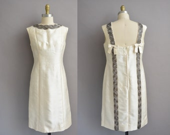Jean Lutece 60s ivory silk beaded bow vintage dress / vintage 1960s dress