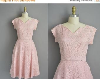 25% off SHOP SALE... 50s rhinestone covered pink lace vintage dress / vintage 1950s dress
