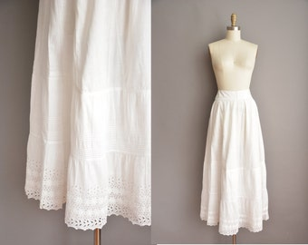 Edwardian white cotton skirt / antique cotton skirt / 1910s white cotton skirt