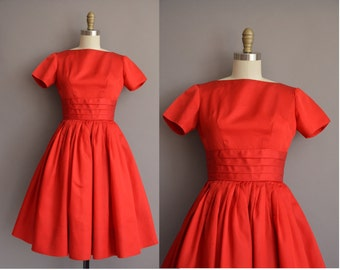 50s Teena Paige red full skirt party dress / vintage 1950s dress