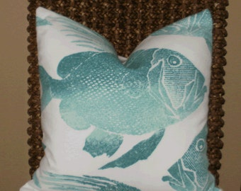Outdoor Decorative Pillow:  18 X 18 Pillow Cover with Large Teal Fish Screen Printed onto a Cream Background