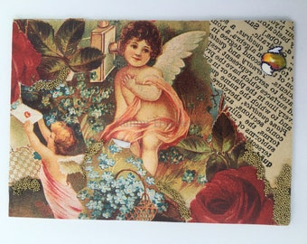 Angel babies Artist Trading Card ACEO ATC original collage 2.5 x 3.5 made 2006