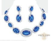 Sapphire Blue Bridal Jewelry Set, Crystal Statement Necklace, Wedding Jewelry Set, Vintage Inspired Necklace, Bridesmaids Jewelry