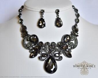 Dark Gray Bridal Jewelry Set. Statement Necklace, Wedding Jewelry Set, Vintage Inspired Necklace, Rhinestone Necklace, Bridal Necklace