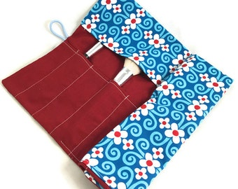 Makeup brush rollup for larger brushes beautiful print blue and red floral pattern