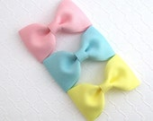 """Simple Baby Hair Bows ~ Toddler Hair Clips ~ Hair Bow Clip Set ~ 3"""" Boutique Bow Set ~ You Pick Colors"""
