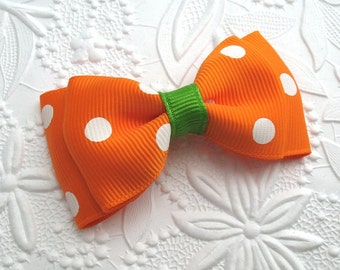 Halloween Hair Bow ~ Toddler Girls Halloween Hair Clip ~ Orange Polka Dot Bow