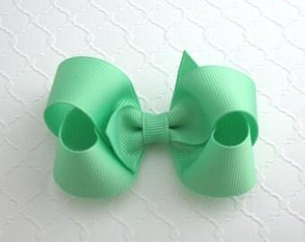 "3"" Mint Green Basic Hair Bow ~ Toddler Girls Hair Bow ~ Classic Hair Bow"