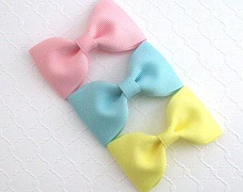 "Toddler Hair Bow Clips, Girls Simple 3"" Hair Bows, Set of 5 Hair Bows, Stocking Stuffer, Baby Girls Hair Bow Set"