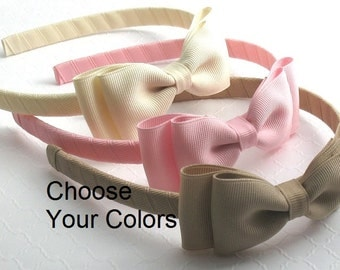Girls / Toddlers School Uniform Hard Headbands with Bows ~ Set of 5, Back to School Bows Headbands