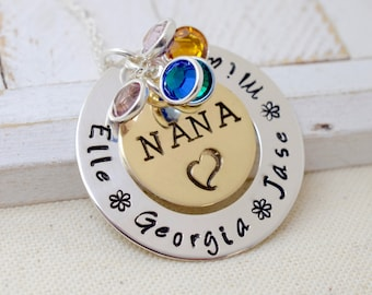 Personalized Grandma Nana Jewelry - Handmade Stamped Metal Necklace - Mother's Day Gift - Mommy Mom Necklace - Family Jewelry - Kid's Names