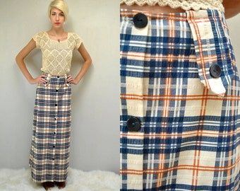 70s Maxi Skirt  //  Seersucker Plaid Skirt  //  70s Button Skirt  //  THE SKYE